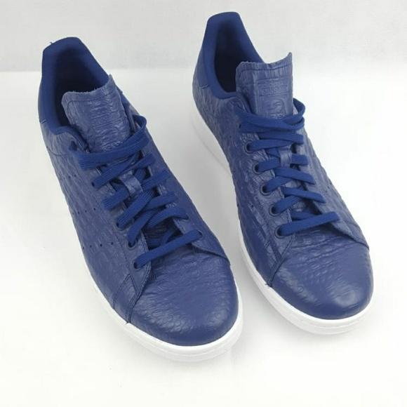 info for 8b095 9a03c Adidas Stan Smith Snakeskin Mens AQ2730 Navy Blue NWT